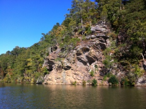 Photo by Christine Swint. Cliffs near Morgan Falls dam, October 25, 2014.