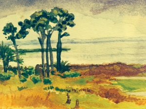 Plein air water color of Port Saint Joe Bay by Patrice Needham.